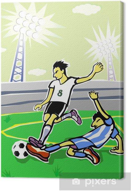 Canvastavla Fotbollsspelare tecknad. Vektor illustration. • Pixers ... 28b7a53ce6e43
