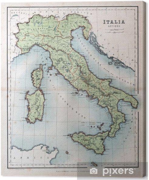 Gammal Karta Italien.Canvastavla Gammal Karta Over Italien 1870 Pixers Vi Lever For