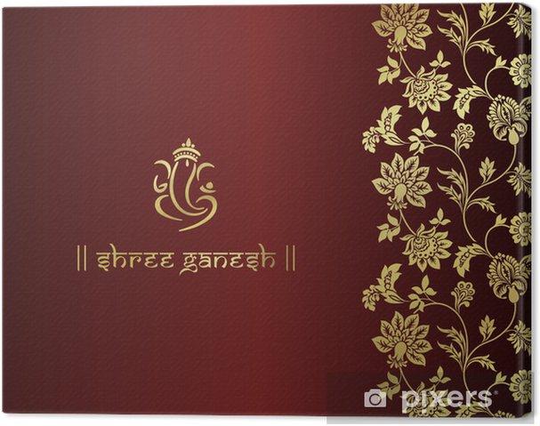 Canvastavla Ganesha Hinduiskt Brollop Kort Royal Rajasthan