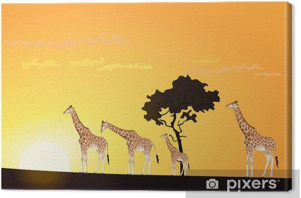 Canvastavla Giraff - Afrika