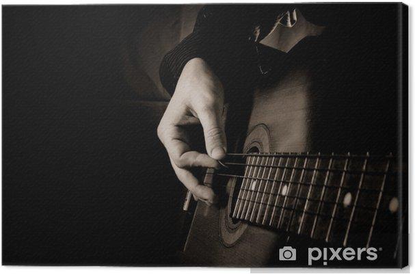 Canvastavla Gitarr på svart bakgrund - Jazz
