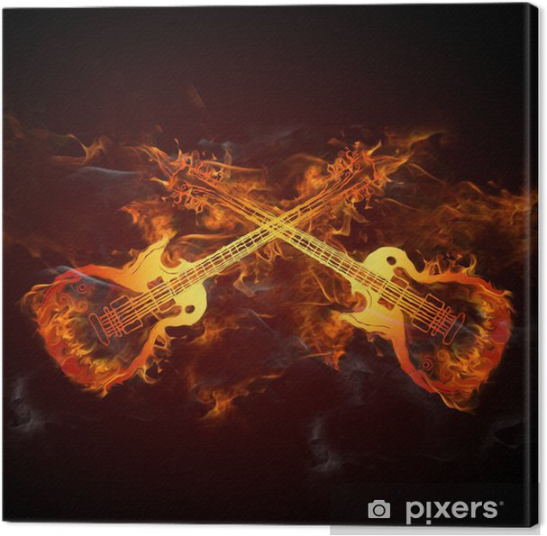 Canvastavla Gitarren Feuer - Rock