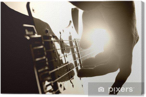 Canvastavla Gitarristen spelar på scenen. Närbildsvy - Teman