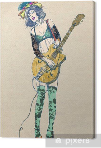 Canvastavla Guitar player - Spännande skönhet. - Jazz