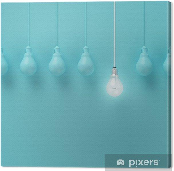 Canvastavla Hängande glödlampor med glödande en annan idé på ljusblå bakgrund, Minimal begrepp idé, platt låg, topp - Affärslivet/Business