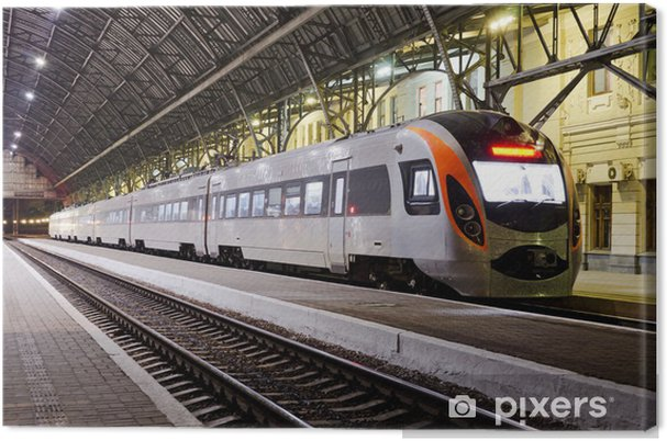 Canvastavla Höghastighetståg på järnvägsstationen - Teman