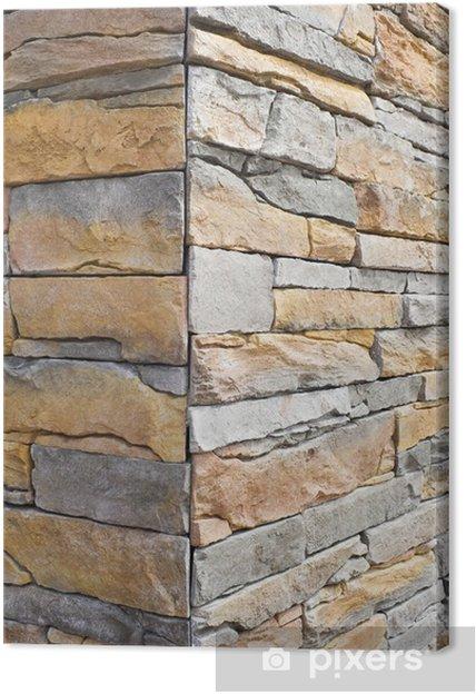 Canvastavla Hörnet på väggen i konstgjord sten - Sten mönster