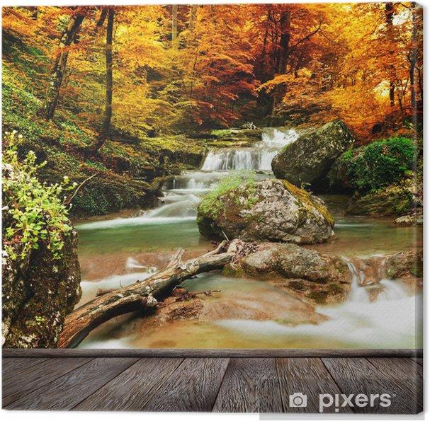 Canvastavla Hösten bäck skogen med gula träd - Teman
