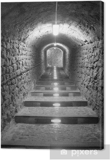 Canvastavla Ibiza tunnel väg upp till slottet ljuseffekt - Teman