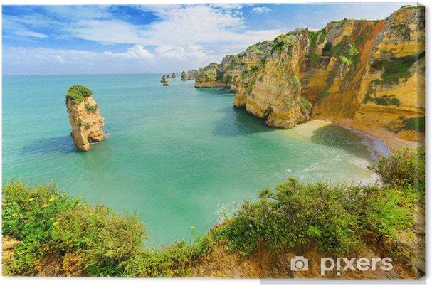 Canvastavla Idyllisk strandlandskapet på Lagos, Algarve, (Portugal) - Teman