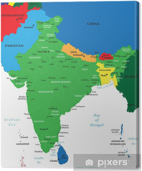 Canvastavla Indien Karta Pixers Vi Lever For Forandring