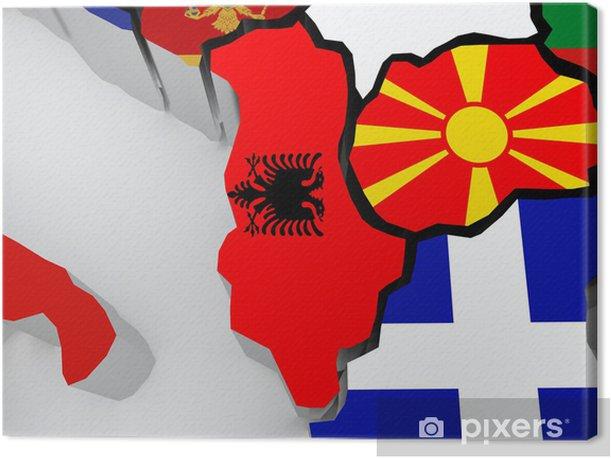 Canvastavla Karta Over Albanien Och Makedonien Pixers Vi