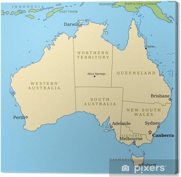 Karta Australien Adelaide.Canvastavla Karta Over Australien Med Stater Vektor Pixers Vi