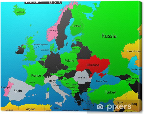 Karta Lander I Europa.Canvastavla Karta Over Europa Redigerbara Med Alla Lander Som