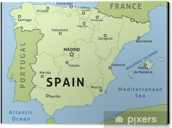 Karta Pa Spansk.Canvastavla Karta Over Spanien Vektor Illustration Pixers Vi