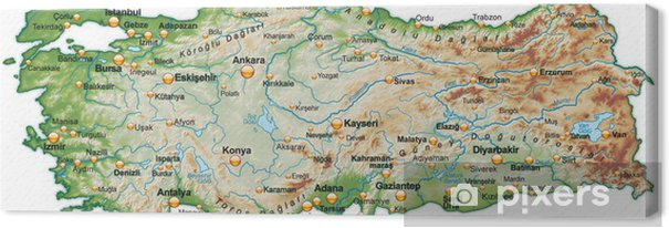 Karta Europa Turkiet.Canvastavla Karta Over Turkiet Med Skuggning Pixers Vi Lever