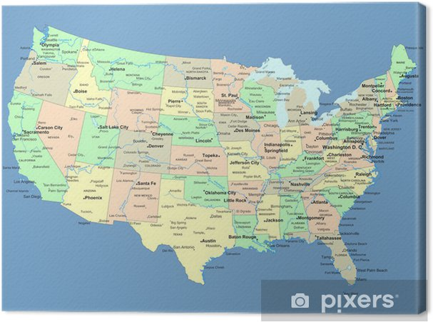 Canvastavla Karta över USA med namn på stater och städer - Teman