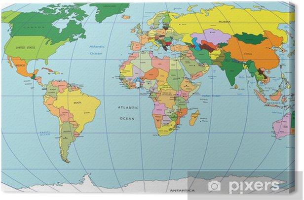 Canvastavla Karta Over Varlden Pixers Vi Lever For Forandring