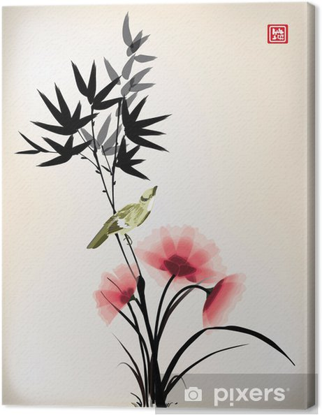 Canvastavla Kinesisk bläck stil blomma fågel ritningen - Criteo