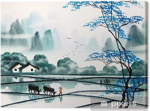 Canvastavla Kinesiska landskapet vattenfärg painting__ - Landskap