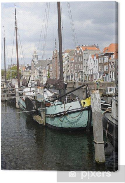 Canvastavla Klarblå pråm vid Voorhaven, Rotterdam - Europa