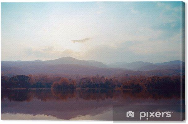 Canvastavla Landskap av sjön bergen i höst - vintage stilar. - Landskap