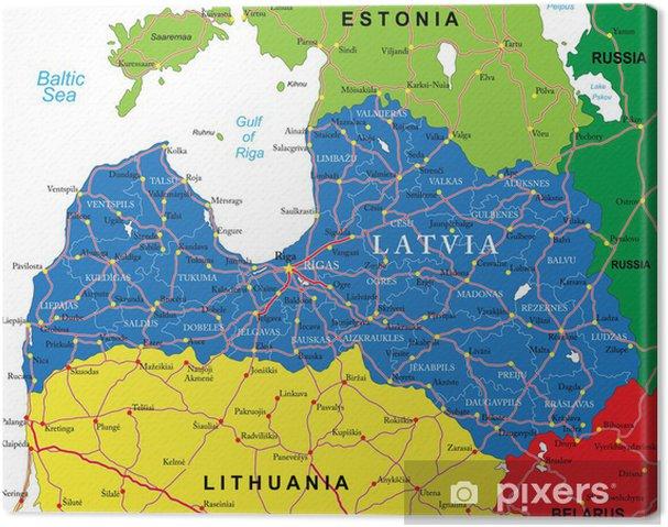 Lettland Karta Europa.Canvastavla Lettland Karta Pixers Vi Lever For Forandring