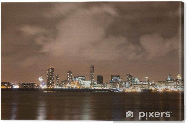 Canvastavla Liverpool Fyrverkeri panorama på nyårsafton - Stad