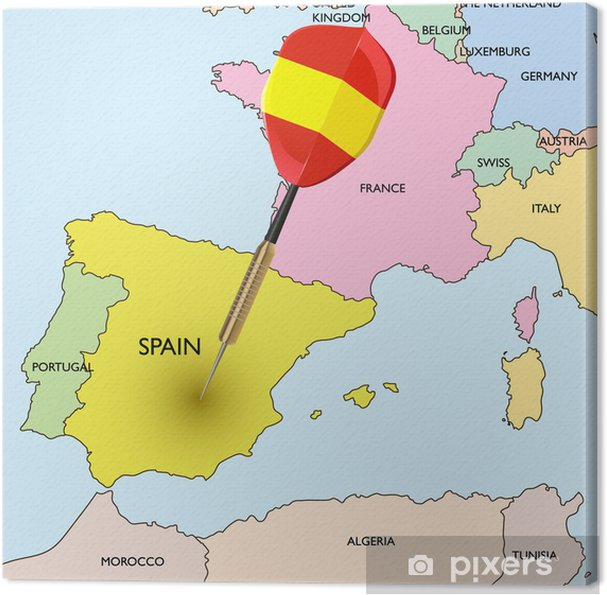 Karta Pa Spansk.Canvastavla Mal Spanien Dart Sla I Spanien Pa Europas Karta