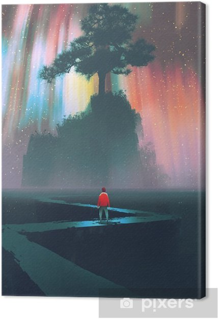 Canvastavla Man börja en resa på slingrande väg till det stora trädet mot natthimlen, illustration - Hobby och fritid