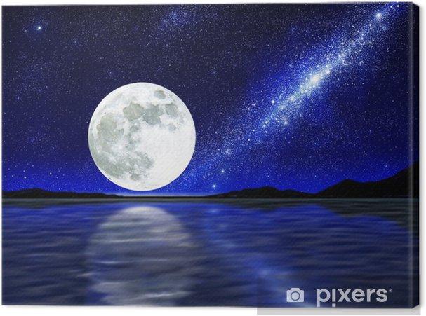 Canvastavla Måne över vatten - Stjärnor