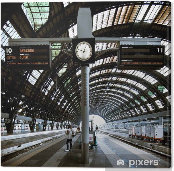 Canvastavla Milano station arkitektur - Järnvägsstationer och tunnelbana