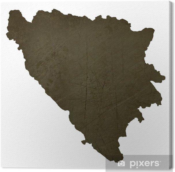 Karta Bosnien Och Hercegovina.Canvastavla Mork Silhouetted Karta Over Bosnien Och Hercegovina