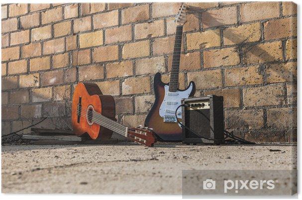 Canvastavla Musikinstrument isolerade på väggen - Teman