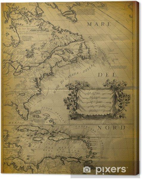 Canvastavla Old Map Of The Mexikanska Golfen Och Ostra Kusten Av