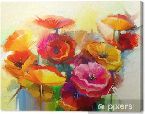 Canvastavla Oljemålning stilleben av gul, rosa och röd vallmo - Hobby och fritid