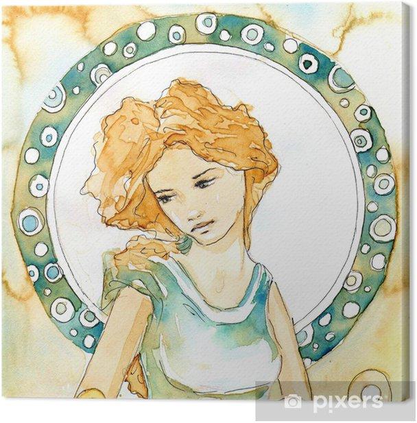 Canvastavla Piękna kobieta Secesja - Hem och trädgård