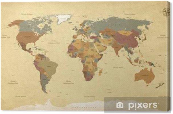 Canvastavla Planisphere Mappemonde Vintage - Textes en français. Vecteur CMJN - Resor