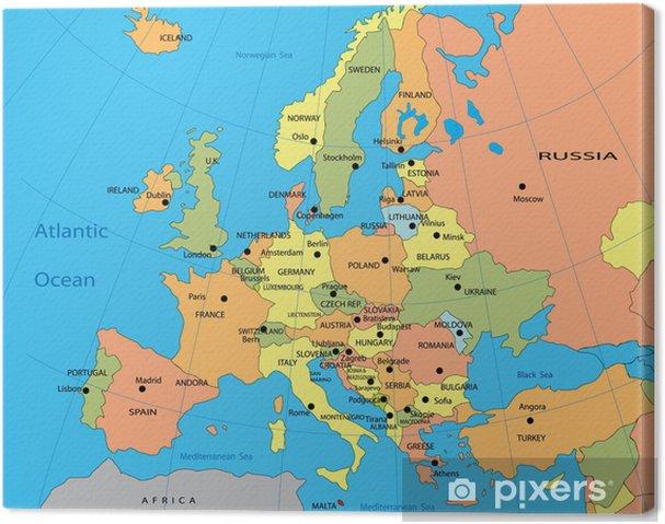 Amsterdam Karta Hotell.Canvastavla Politisk Karta Over Europa Pixers Vi Lever For