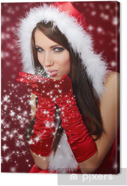 aa4543de874a Canvastavla Porträtt av vacker sexig tjej bär jultomten kläder -  Internationella högtider