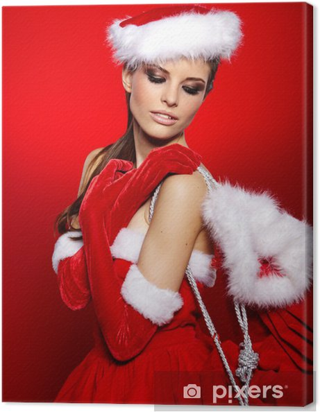 792d361796bf Canvastavla Porträtt av vacker sexig tjej bär jultomten kläder - Kvinnor