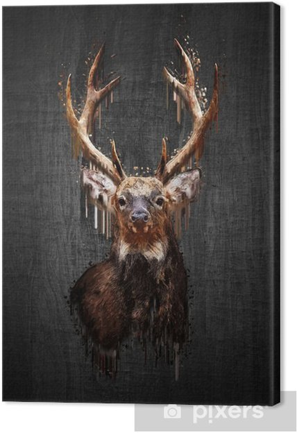 Canvastavla Rådjur på mörk bakgrund. måla effekt - Djur