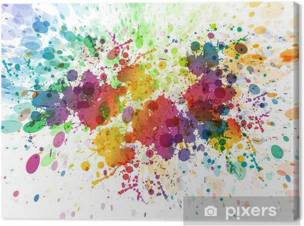 Canvastavla Raster version av abstrakt färgrik plaska bakgrund - Hobby och fritid