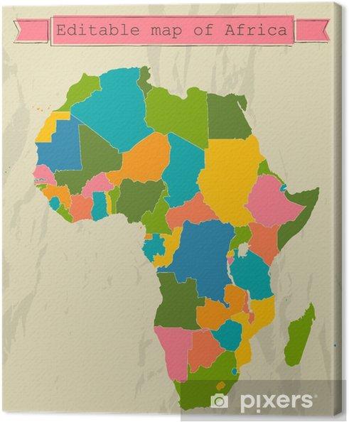 Redigerbar Karta Sverige.Canvastavla Redigerbar Karta Over Afrika Med Alla Lander Pixers
