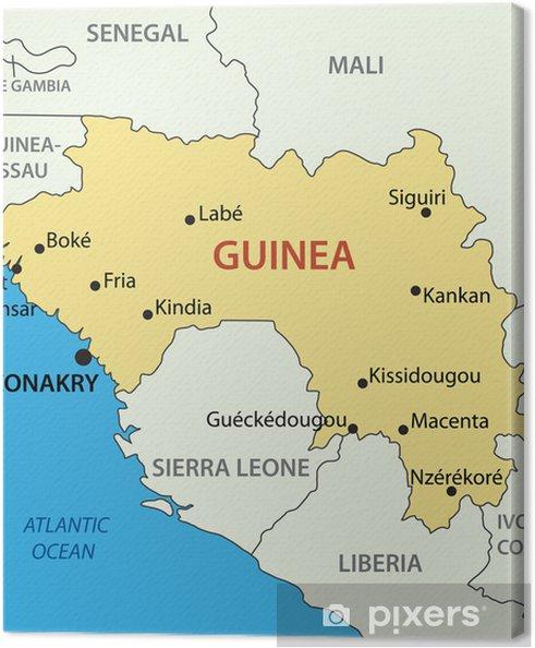 Afrika Karta Guinea.Canvastavla Republiken Guinea Vektor Karta Pixers Vi Lever