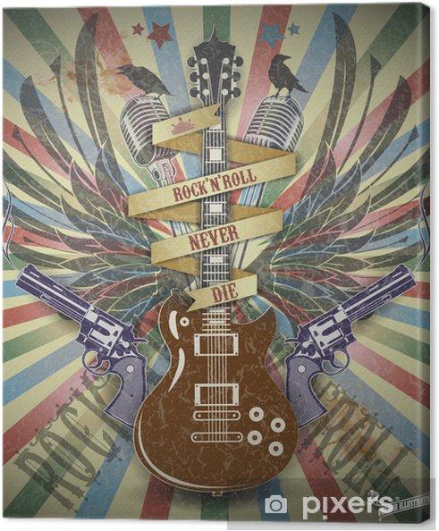 Canvastavla Rock n roll symbol.Retro stil bakgrund. - Rock