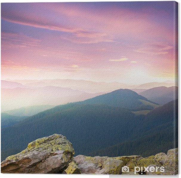Canvastavla Röd majestätisk Soluppgång över bergen - Årstider