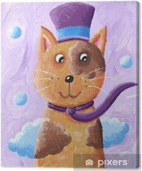 6bea80554186 Canvastavla Rolig katt som bär topp hatt • Pixers® - Vi lever för ...