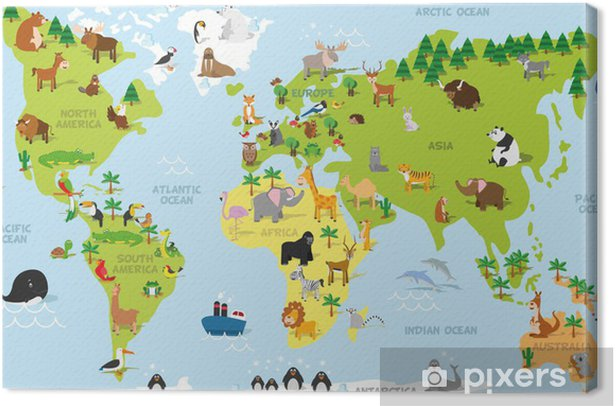 Canvastavla Rolig tecknad världskarta med traditionella djur av alla kontinenter och hav. Vektor illustration för förskoleundervisning och barn utformning - PI-31