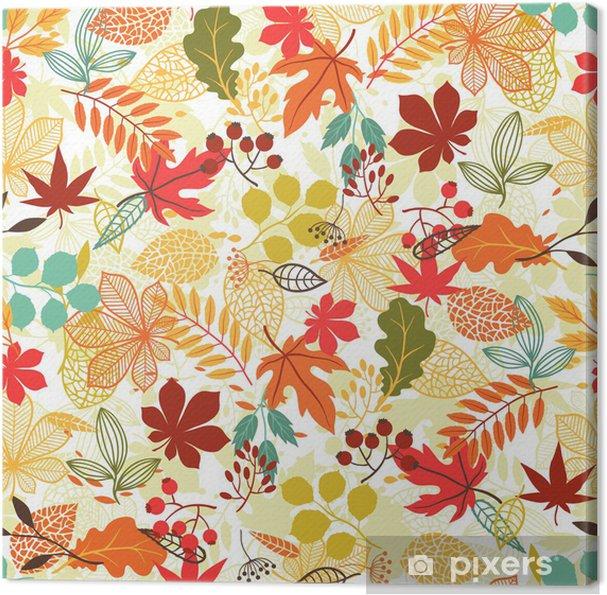 Canvastavla Seamless mönster med stiliserade höstlöv